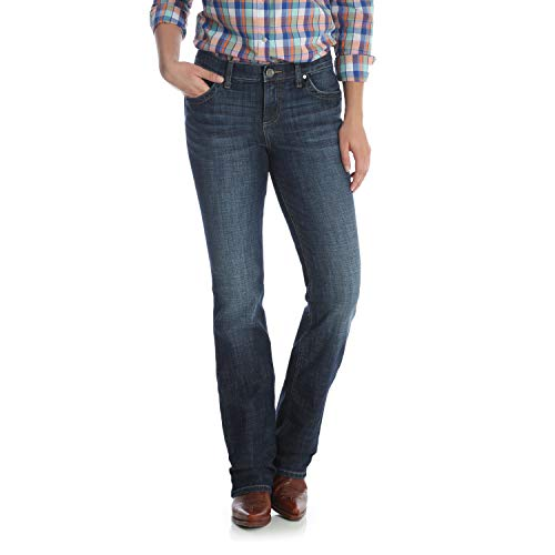 Wrangler Women's Q-Baby Mid Rise Boot Cut Ultimate Riding Jean, Medium Blue, 5X34