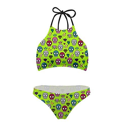 ChenGFYY Maillot de bain pour femme Motif 3D Motif crâne Vert Taille basse Bikini Maillot de bain Push Up XXL Picture color