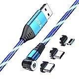 EBA Fluido LED Cable de carga magnético 1M 540° 2.4A Carga Rápida Magnética Cable USB Visible Multicolor 3 en 1 Cable Magnético para Android, Micro USB, Tipo C, Smartphone Tablette(Azul)