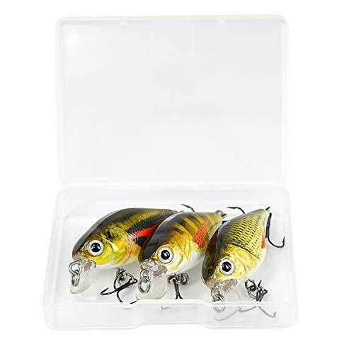 Small Lake 5Pcs / Set 1.8G 3cm Topwater 0.1-0.5M Wobbler Mini richiamo Duro di Pesca di Mosca Fishing Lure Wobbler con Scatola di plastica, Yr07-3