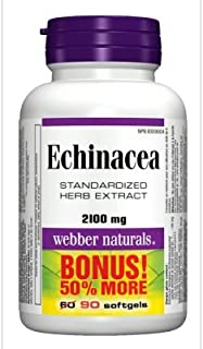 Webber Naturals Echinacea Standardized Herb 8:1 Extract, 2100mg, 90 Softgels Bonus