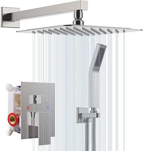 S R SUNRISE Duschsystem - gebürstetes Nickel-Duschhahn-Set für Badezimmer - hochmoderne Air Injection-Technologie - 10