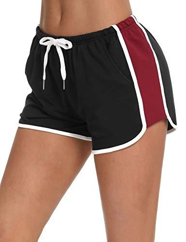 Abollria Pantalones Cortos Deportivos para Mujer Algodón Cintura Elástica Ajustable Verano Pantalones Yoga Correr Ejercicio