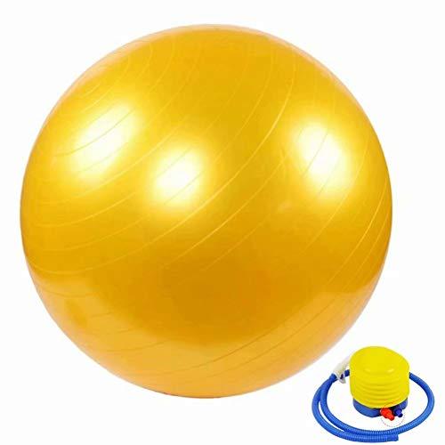 ZHENWEN Umweltschutz Aufgeblasen Kleiner Gymnastikball Verdicken Explosionsgeschützt Balance Fitnessbälle Bauchmuskeltraining Nackenmassage Mini Pilates,Gelb-90cm