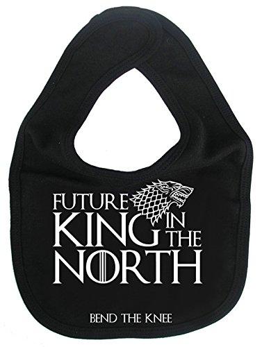 IIE GOT Bavoir unisexe pour bébé Inscription Future King in The North, Bend The Knee, Noir