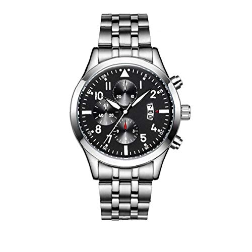 linjunddd Moda Hombre Deporte Fecha Reloj De Cuarzo Analógico Reloj Impermeable del Acero Inoxidable Brazalete Cronógrafo Reloj del Negocio De Negro