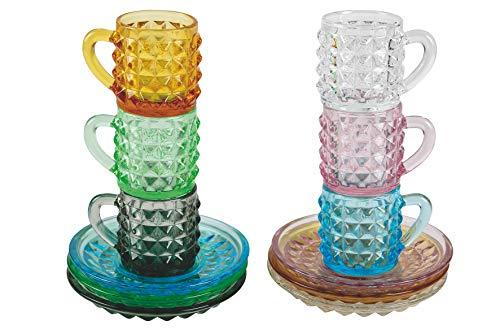 Villa D'Este Home Tivoli 2193929 Diamond - Juego de 6 tazas de café con platillos, de cristal