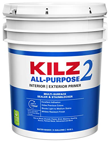 KILZ 2 Multi-Surface Stain Blocking Interior/Exterior Latex Primer/Sealer, White, 5 gallon