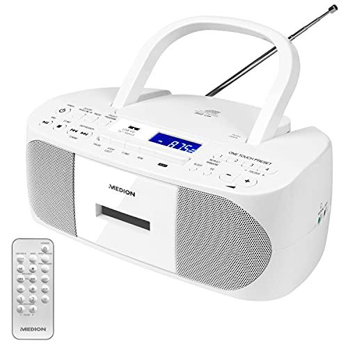 MEDION E65010 Stereoradio (CD-Player, Kassette, USB Anschluss, AUX Audioeingang, MP3-Widergabe. UKW PLL Radio,40 Senderspeicher, Batteriebetrieb, Fernbedienung) weiß