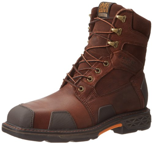 Ariat Men's Overdrive 8' Wide Square Toe Composite Toe Work Boot, Chestnut/Brown, 7 M US