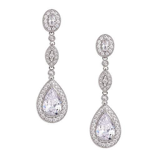 SWEETV Pendientes de novia de circonita cúbica con forma de lágrima para mujer, damas de honor, novias, pendientes colgantes con diamantes de imitación de cristal plateado