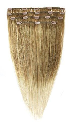 American Dream Lot Tête Complète de Luxueuses Extensions Clip In 100 % Cheveux Humains Ombre Couleur 10 Blond Cendre Moyen + Couleur 22 Blond Plage
