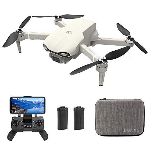 le-idea Drone con Camara HD, IDEA39 4K sin Escobillas Drones con Camara Profesional Estabilizador GPS, Posicionamiento de Flujo óptico, Fotografía de Gestos con Las Manos, 2 baterías (30 Minutos x2)