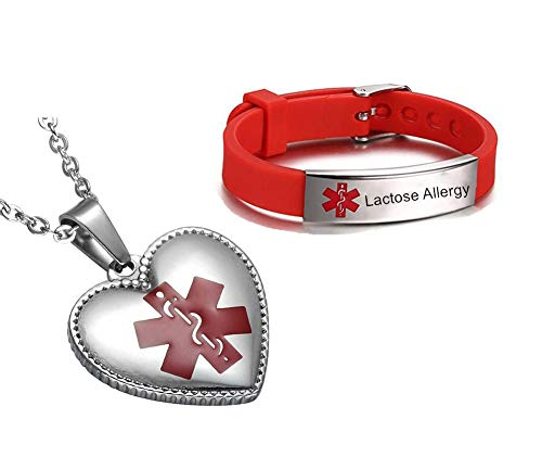 NineJewelry NJ Lactose Allergy Medical Alert Schmuck für Jungen Mädchen-Edelstahl Silikon Sportband Medical ID Armbänder Halskette Set Medical Allergy Schmuckset für Kinder Teens