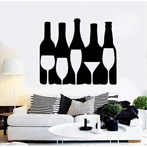 Vinyl wandlamp, voor heren, wijnfles, fles met sterke drank, bar, entertainment, bar, water, decoratieve wandsticker, 66 x 57 cm