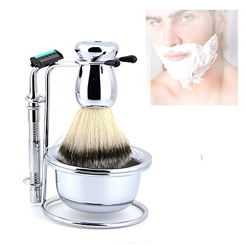 Beito Shaving Set 4PCS/SET Premium Shaving Brush Set With Soft Bristle Brush And Luxury Brush Holder Soap Bowl Sharpness Manual Razor Perfect Shaving Kit For Man (argent)