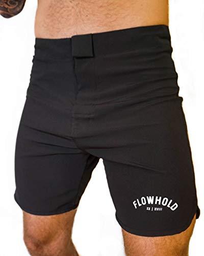 Flowhold MMA Shorts for No Gi BJJ, Grappling, Kickboxing, Crossfit, Jiu Jitsu Updated (Black, X-Large)