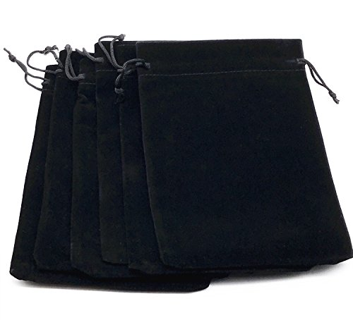 Lady Seven 6pcs 7' X 5' Velvet Cloth Jewelry Pouches/Drawstring Bags (Black)