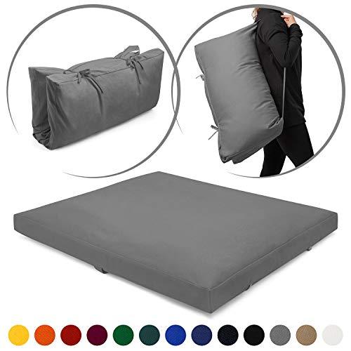 Present Mind Zabuton Meditation Mat (Colour: Grey) - Foldable Yoga Mat (70 x 82 x 6-8 cm)...