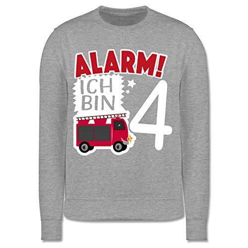Shirtracer Geburtstag Kind - Alarm! Ich Bin 4 Feuerwehrauto - 128 (7/8 Jahre) - Grau meliert - 4. Geburtstag - JH030K - Kinder Pullover