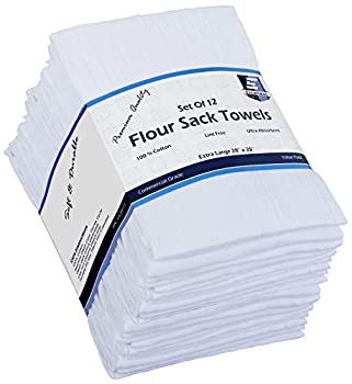 Flour Sack Kitchen Towels  White,12 Pack  100% Cotton,28x28 Inch Cloth Napkin Bread wrapper Cheesecloth Multi Purpose Kitchen Dish Towels,Bar Towels Extremely Absorbent & Sturdy By Excellent Deals