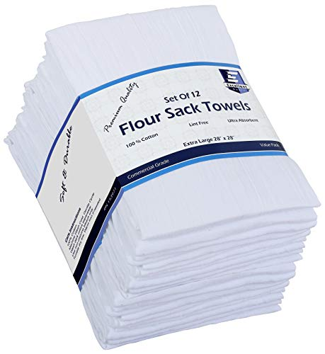 Flour Sack Kitchen Towels (White,12 Pack) 100% Cotton,28x28 Inch Cloth Napkin, Bread wrapper, Cheesecloth, Multi Purpose Kitchen Dish Towels,Bar Towels, Extremely Absorbent & Sturdy By Excellent Deals