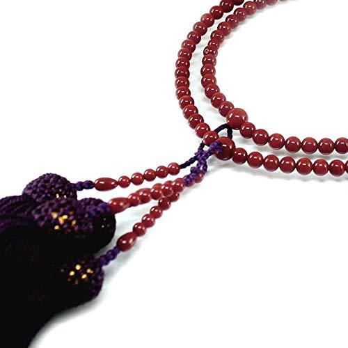 赤珊瑚 本連 数珠 女性用 数珠袋付 桐箱入 5mm玉 長さ54cm 房は正絹 無染色さんご サンゴ念珠は結納、嫁入り道具に