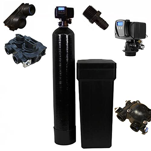 Fleck 5600 SXT Whole House Water Softener 48,000 Grains Ships Loaded With Resin In Tank, Black