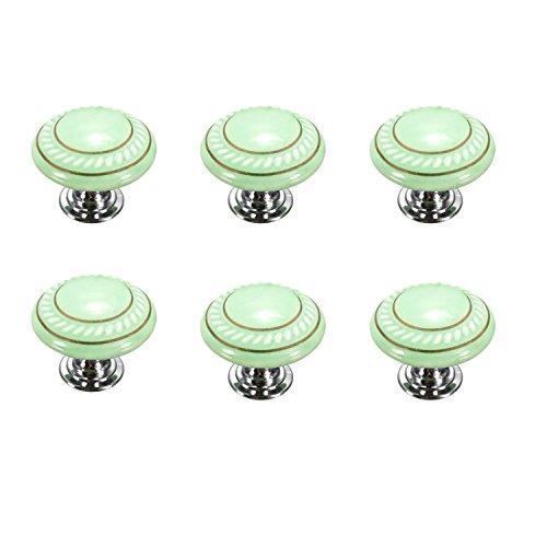FBSHOP(TM) 6 Stück Grün Retro Stil Runde Keramik-Möbelknauf Möbelknopf Türknopf für Truhen, Schränke, Schubladen,Küche, Schlafzimmer, Badezimmer DIY steuern Dekoration