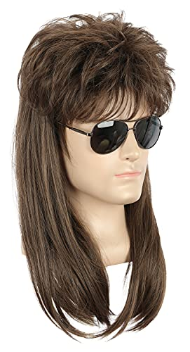 Yuehong Adult Long Rock Star Style Wig Halloween Cosplay Wig Mullet Wig Heat Resistant Wigs