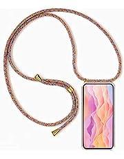 Funda para Xiaomi Redmi Note 8 Pro con Cuerda, Xiaomi Redmi Note 8 Pro Carcasa Transparente TPU Suave Silicona Case con Correa Colgante Ajustable Collar Correa de Cuello Cadena Cordón, Multicolor