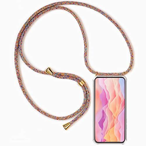 Hüllecool Handykette kompatibel mit Oppo A72, Handyhülle Handy Necklace Hülle mit Band Schutzhülle Kordel zum Umhängen Transparent Weich TPU Silikon Tasche, Rainbow