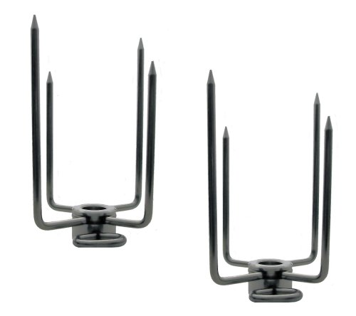 OneGrill Stainless Steel Grill Rotisserie Spit Rod Forks (Fits: 5/8 Inch Hexagon, 1/2 Inch Square, 11/16 Inch Round)
