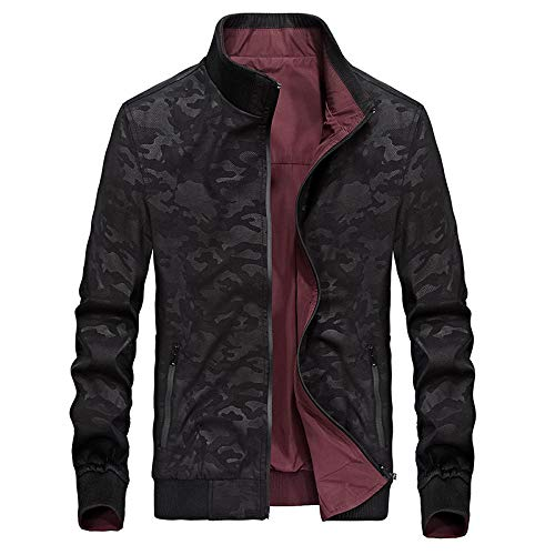 Mens Thick Warm Jacket Coat Full Two-sided jacket casual-black_XXL