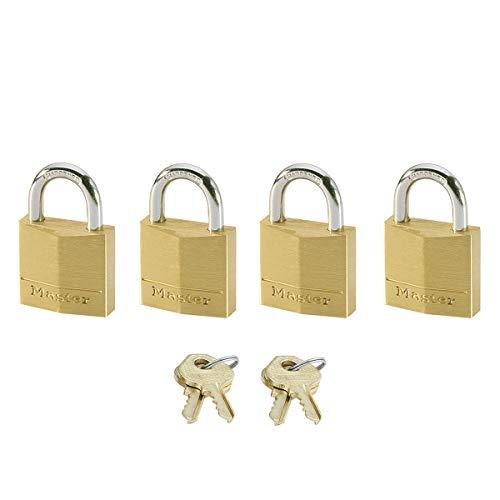 MASTER LOCK Kleine Vorhängeschlosser Set [Schlüssel] [4er-Pack] [Familienpackung] [Gleichschliessend] 120EURQNOP - Ideal für Rucksäcke, Gepäck, Computertaschen und mehr