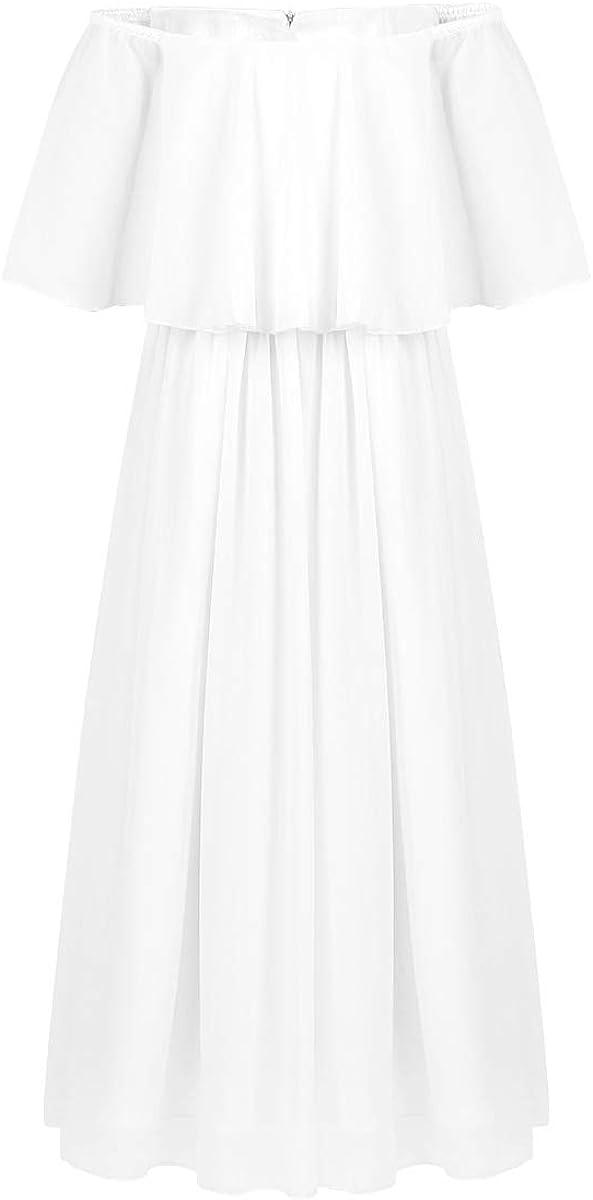 ACSUSS Kids Girls Off Shoulder Wedding Bridesmaid Floor Length Flutter Chiffon Flower Dress