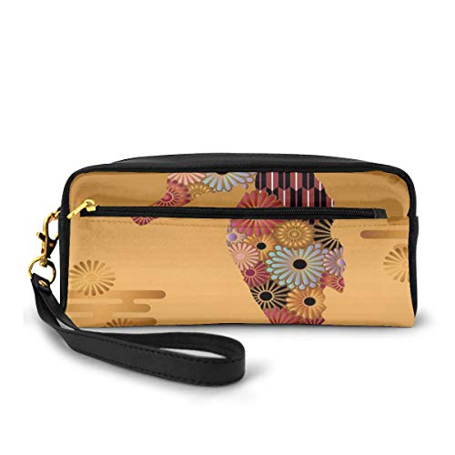 Pencil Case Pen Bag Pouch Stationary,Ornamental Seahorse Decor with Floral and Stripe Lines Kitsch Style Cute Image,Small Makeup Bag Coin Purse