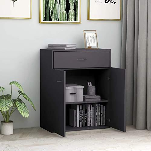 GOTOTOP Mueble aparador de madera 60 x 30 x 75 cm Aparador con 2 puertas y 1 cajón Cómoda baja mueble de servicio para exponer objetos decorativos-gris