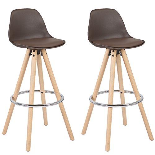 WOLTU® BH45br-2 2 x Barhocker 2er Set Barstuhl aus Kunststoff Holzgestell mit Lehne + Fußstütze Design Stuhl Küchenstuhl optimal Komfort Braun