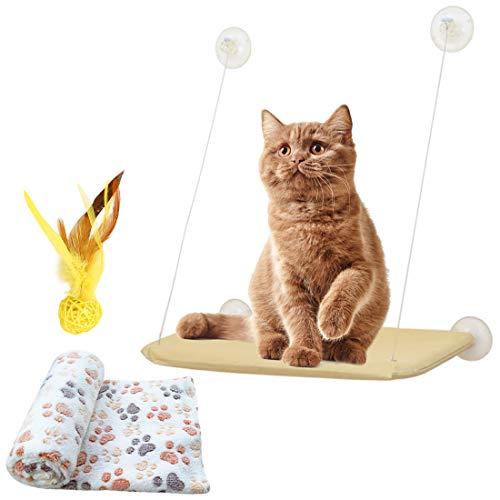 Weichuang Hamaca Ventana de Gato con Manta Gato y Pluma Juquete para Gato, Cama Colgante de Mascota con Ventosas de Perilla Resistentes para Descansar y Tomar el Sol