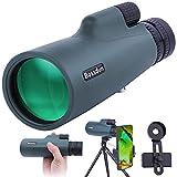 Telescopio Monocular 10-30x50 para Adultos, Telescopio Monocular Resistente al Agua HD con Teléfono Inteligente para Observación de Aves, Senderismo,Caza, Camping, Viajes,Verde Militar