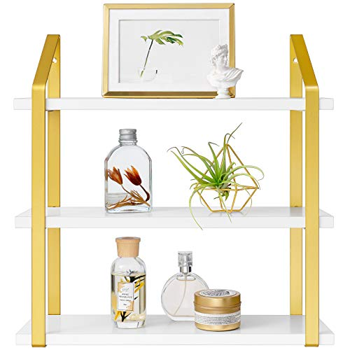 Peter's Goods Modern Floating Shelves with Rail - Wall Mounted Bathroom Wall Shelves with Towel Bar - Also Perfect for Bedroom Decor and Kitchen Storage - Solid Paulownia Wood Shelf Set of 2 (White)