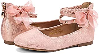 nerteo Girl's Princess Dress Shoes Ankle Strap Glitter...