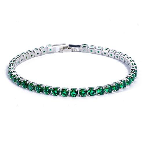 Pulsera de lujo de 4 mm de circonita cúbica de tenis pulseras de cristal de cadena de cristal de la boda para las mujeres hombres oro plata color plata pulsera plata verde