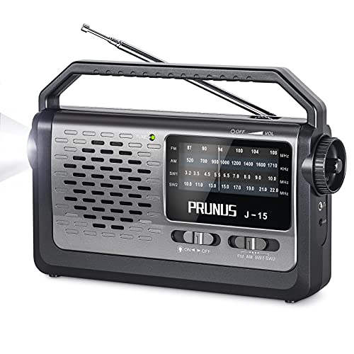 PRUNUS J15 Portable Radio with Best Reception on FM AM SW Radio Band [The CHIP Made in USA], AC Power Or Battery Operated Radio by 3 D Cell Battery Up to 400 Hours of Use, with Flashlight