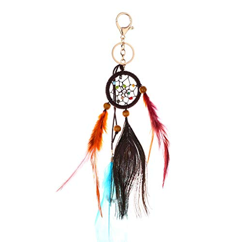 Keychains Key Ring for Women Popular Hand-Woven Ethnic Wind Dream Catcher Feather Handmade Elegant Keyring Car Hangings Pendant Evangelia.YM (Multicolor)