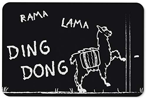 Tassenbrennerei Fußmatte mit Spruch Rama Lama Ding Dong - Türmatte lustig - waschbar und langlebig - Deutsche Qualität