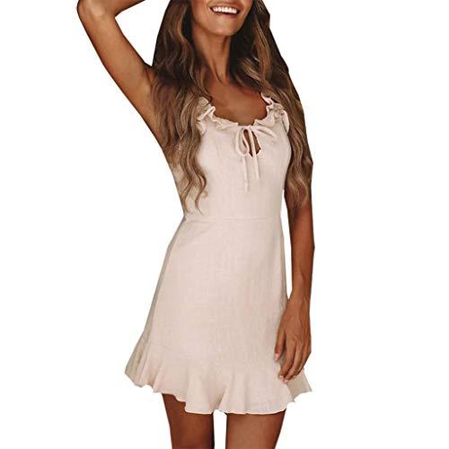 Vimoli Kleider Damen Sleeveless Sommerkleider Strandkleider Pendler V-Ausschnitt Kleider(Weiß,De-32/CN-S)