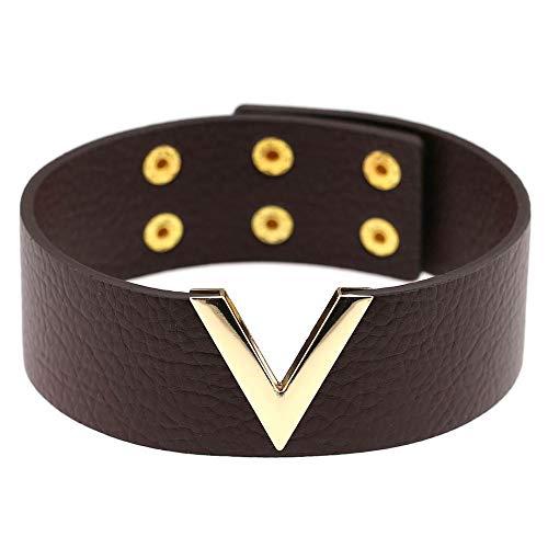 W.Z.H.H.H Erotisches Zubehör Einfache Persönlichkeit V-Form-Leder-Halsketten-Punkkragen Clavicleweinlesehalskette Cortical Kurze Halskette (Metal Color : Kaffee, Size : Kostenlos)