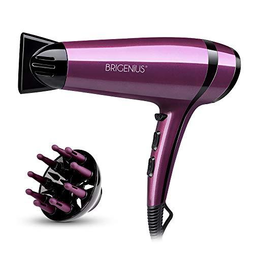 Secador de pelo BRIGENIUS, secador de pelo profesional, secador de pelo iónico con difusor, 2200 W, secado rápido y bajo nivel de ruido - Morado/Negro